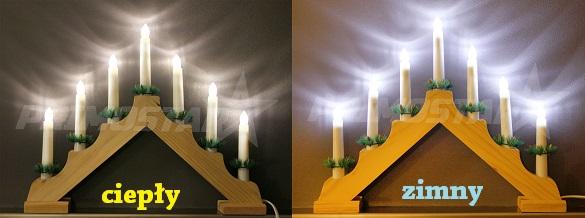 ozdoby 7 swiecznik adwentowy z diodami w barwie zimnej led