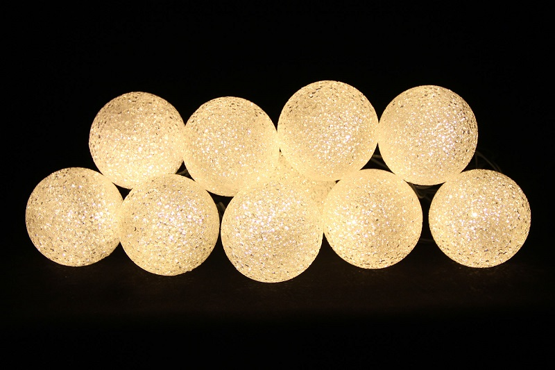 lampki led 10 kule ciepla biel