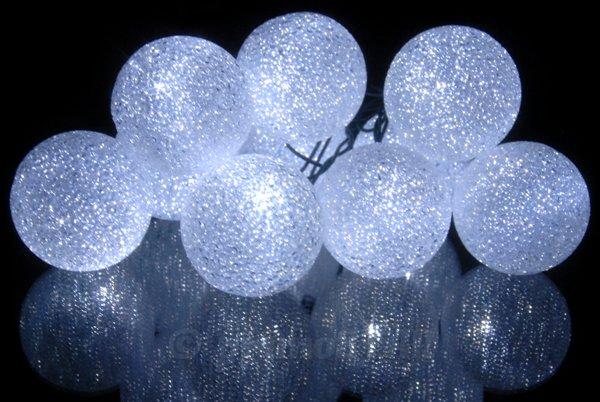 lampki led 10 kule zimna biel